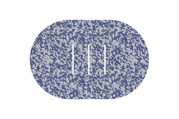 Tapete de Banheiro Oval Rubberkap Formas 40x60cm Azul E Cinza - Kapazi