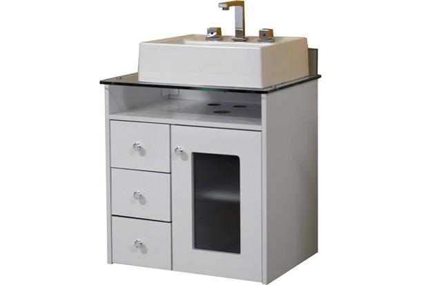 Toucador de Banheiro Havana 60 Cm Branco com Tampo de Vidro  Bonatto  C&C -> Gabinete De Banheiro Bonatto