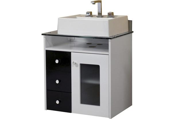 Toucador de Banheiro Havana 60 Cm Branco E Preto com Tampo de Vidro  Bonat -> Como Instalar Armario De Banheiro Suspenso