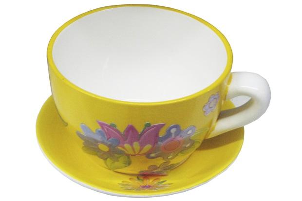 Vaso x cara cer mica amarelo decorativa para jardim 19cm for Ceramica decorativa pared